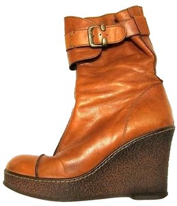 Miss Sixty Jeans Leather Wedge Platform Buckle Brown Boots