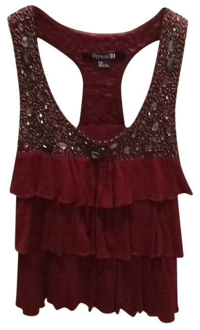 Preload https://item3.tradesy.com/images/forever-21-ruffles-soft-gems-racerback-top-wine-761557-0-0.jpg?width=400&height=650