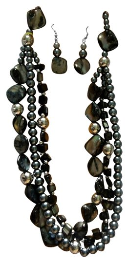 unknown Black Shell, Glass Pearl Earrings and Necklace
