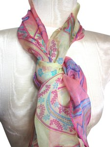 Other Pink Yellow and Purple Paisley Patterned Sheer Chiffon Hair Wrap Scarf