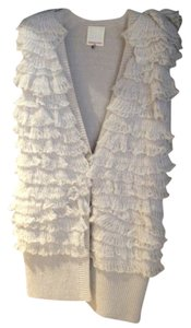 Rebecca Taylor Sweater Coat Light Colored Beige Ruffles Frilly Vest