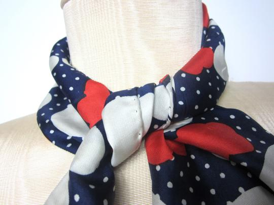 Other Navy White and Red Polka Dot Silk Blend Hair Wrap Scarf