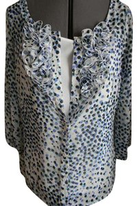East 5th Essentials Two Piece Sheer Sheer Top Blue, black, teal, and tan on white background