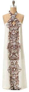 Ivory & Brown Maxi Dress by Anthropologie Batik Boho Maxi Halter
