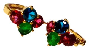 Other New 14K Gold Filled Cubic Zirconia Small Hoop Earrings Pink Blue Green J1393
