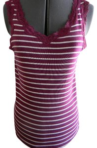 St. John's Bay Striped Top White with violet stripes