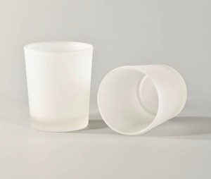 24 White Frosted Votive Holders