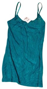 Charlotte Russe Top Metallic teal sheer zebra pattern