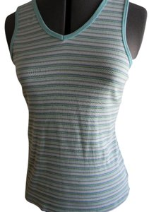 Basic Editions Sporty Yoga Top Aqua stripe on white