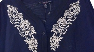 French Laundry Embroidered Top Black 100% Cotton with White Embroidery