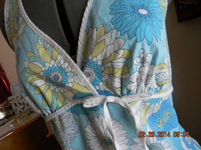 Other Pattern Floral Lime Green, blue, on white Halter Top