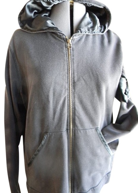 Other Large Zip Up Pockets Silky Hood Longsleeve Sweatshirt