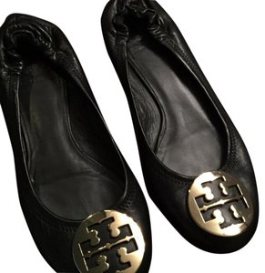 Tory Burch Leather Gold Ballerina Black Flats