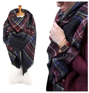 Zara New Plaid Blanket Scarf Navy Multi