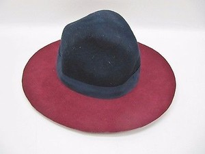 Ecote Womens Ecote Cranberry Navy Blue Wool Felt Grosgrain Ribbon Panama Hat