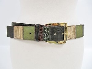 Etro Etro Green Beige Leather Skin Print Patchwork Belt 890