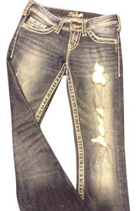 Silver Jeans Co. Vintage Rip Accents Soft Denim Medium Wash Boot Cut Jeans-Medium Wash