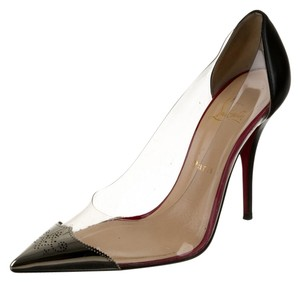 christian louis button shoes - christian louboutin pointed-toe pumps Clear, black and silver-tone ...