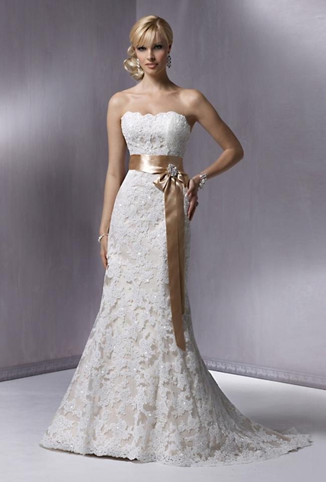 Maggie Sottero Ivory Over Light Gold Lace Brinkley Formal Wedding