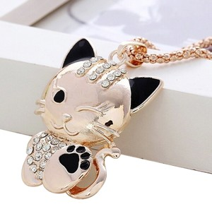 New Gold Tone Kitty Cat Necklace Pendant 28 Inch J1394