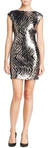 Guess Zebra Print Sequin Prom Dress