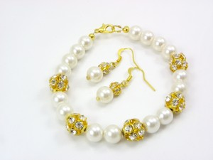 Set Of 6 Bracelets And Earrings Bridesmaid Cream Pearl Bridesmaid Bracelet Cream Pearl Bracelet Wedding Jewelry