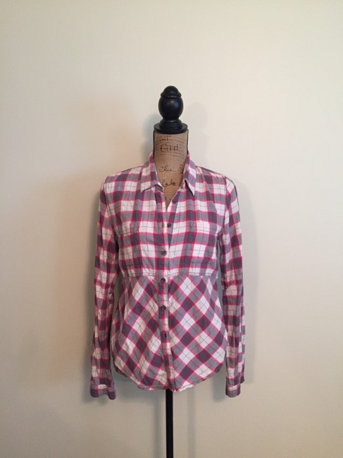 Free People Button Down Shirt Ivory/pink/grey