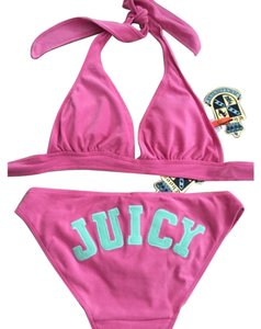 Juicy Couture Juicy Couture Bikini French Terry Cloth Pink Green Halter Size Small