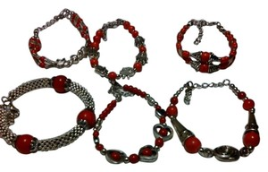 RED AND SILVER BRACELETS