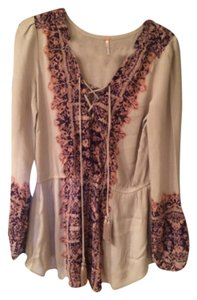 Free People Top Purple and cream
