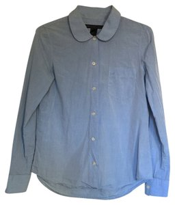 Marc by Marc Jacobs Peter Pan Collar Logo Button Down Shirt blue