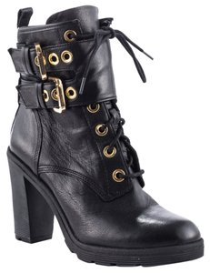 Guess Finlay High Heel Combat Buckle Lace-up Black Boots