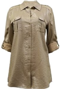 Alice + Olivia Metallic Button Down Shirt Gold