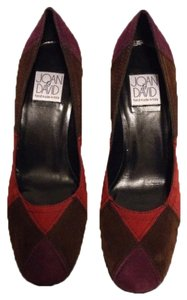 Joan & David Suede Color Block Supple Italian plum,red,cocoa Pumps