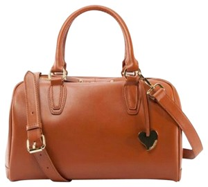 Cuore & Pelle Genuine Italian Leather Luxury High Quality Well Made Sophisticated Functional Durable Gold Hardware Gold Plated Heart Satchel in Cognac