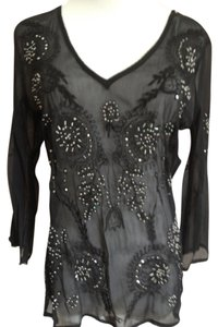 Rue 21 Chiffon Embroidered Top Black