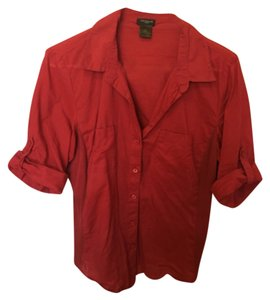 Ann Taylor Button Down Shirt Red