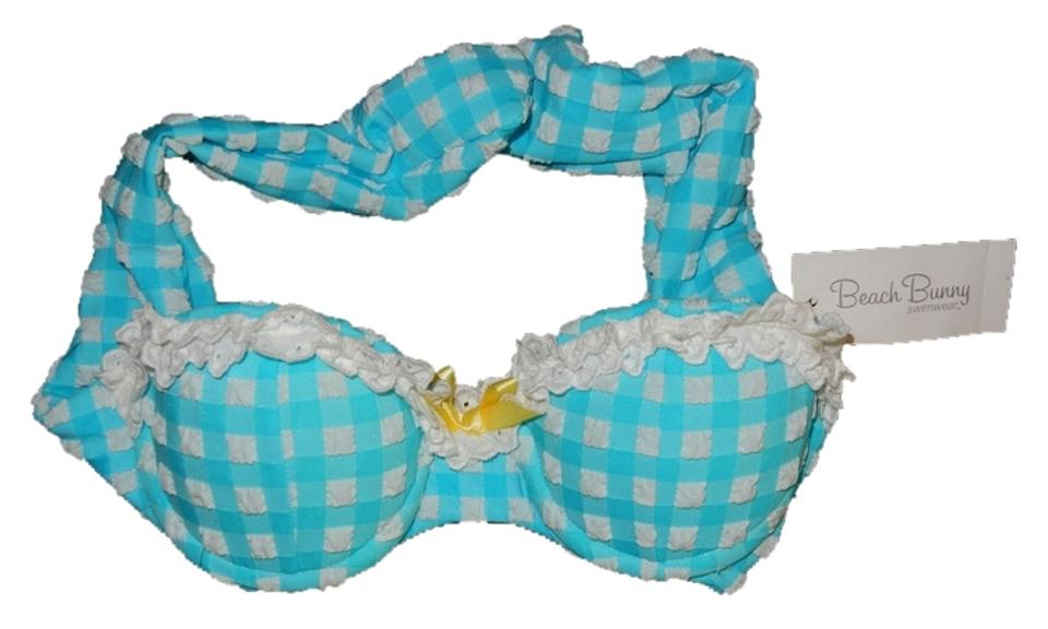 29cf771279c01 Beach Bunny Blue White Dreamin Of You Gingham Halter Bandeau Balconet Xs Bikini  Top