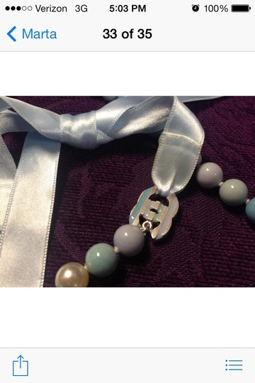 Chanel Auth CHANEL Vintage CC Logos Long Faux Pearl Necklace Blue
