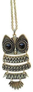 New Silver Tone Owl Pendant Necklace Long Large Charm J1397