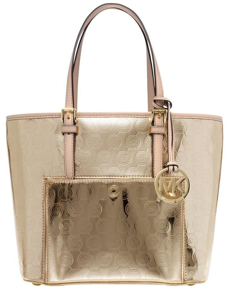 c5196e7b9087 Michael Kors Jet Set Item Medium Snap Pocket Pale Gold Gold Mk Signature  Pvc  Handles  Leather Tote