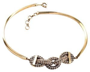 Other Gold Chain Link Pave Stone Collar Necklace