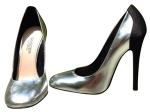 Giambattista Valli Metallic Silver Leather And Black Satin Pumps