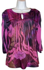New Directions Bohemian Embellished Top Fuschia