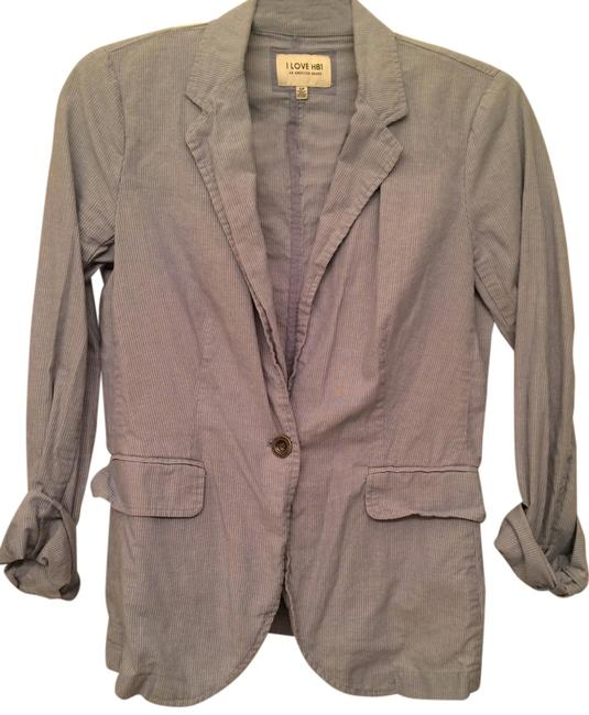 Forever 21 Pinstripe Pinstriped Collared Buttoned Blue, White Blazer