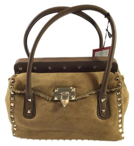 Valentino Rockstud Rockstud Satchel in Brown