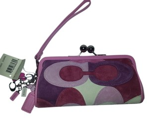 Coach Optic Eyeglass Patchwork Suede Rare Limited Edition Kisslock Multi Clutch