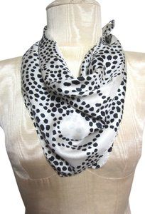 Black and White Intricate Polka Dot Pattern Design Silk Blend Scarf
