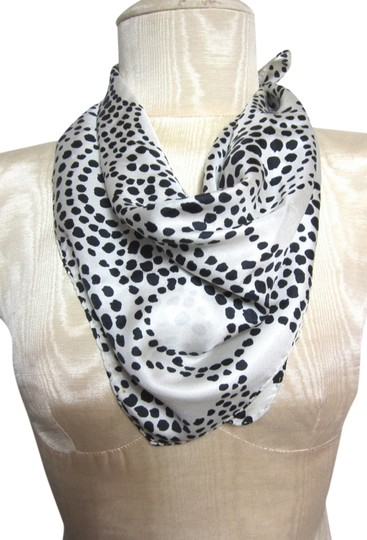 Other Black and White Intricate Polka Dot Pattern Design Silk Blend Scarf