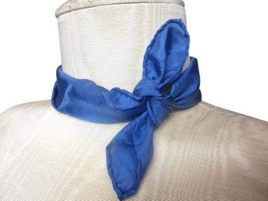 Other Blue Square Silk Blend Handkerchief featuring a Striped Outline Detail
